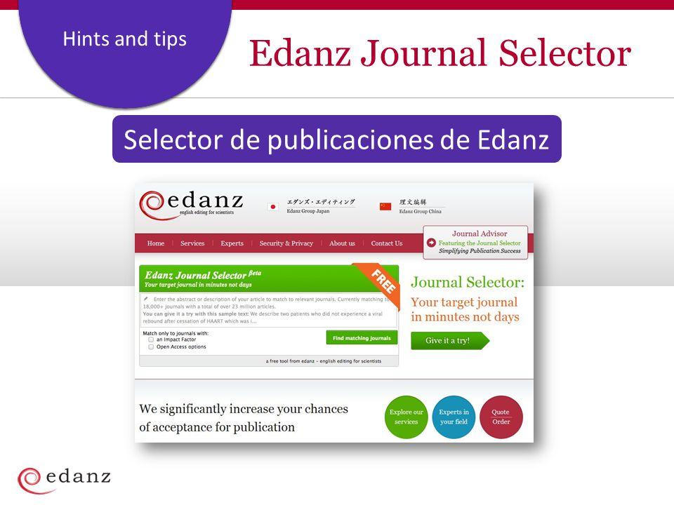 Coverage and Staffing Plan Hints and tips Edanz Journal Selector Selector de publicaciones de Edanz