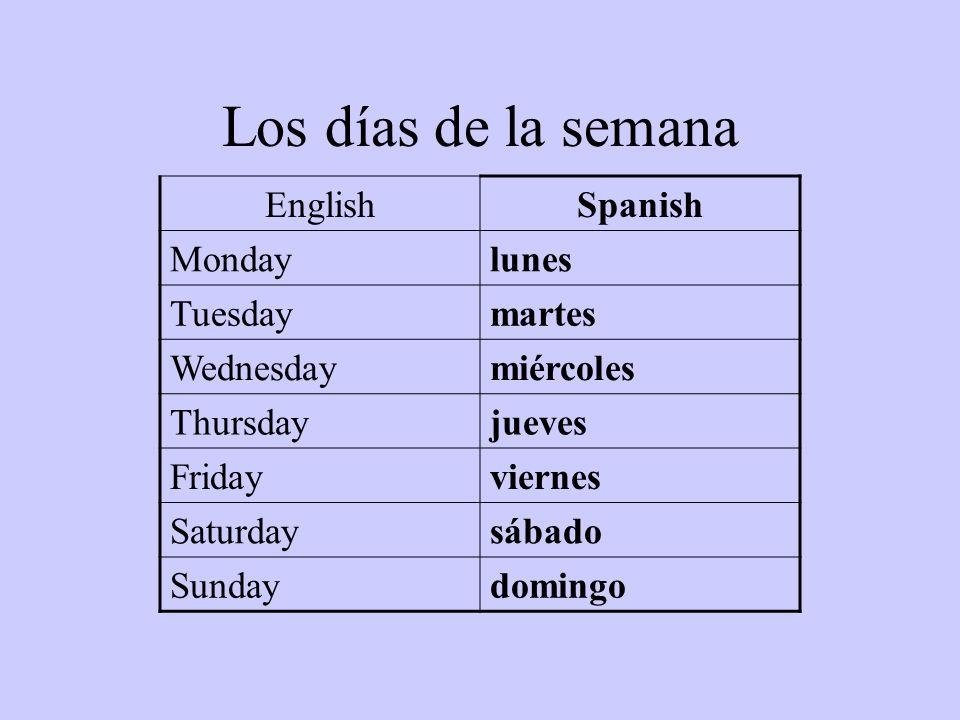 Los días de la semana EnglishSpanish Mondaylunes Tuesdaymartes Wednesdaymiércoles Thursdayjueves Fridayviernes Saturdaysábado Sundaydomingo
