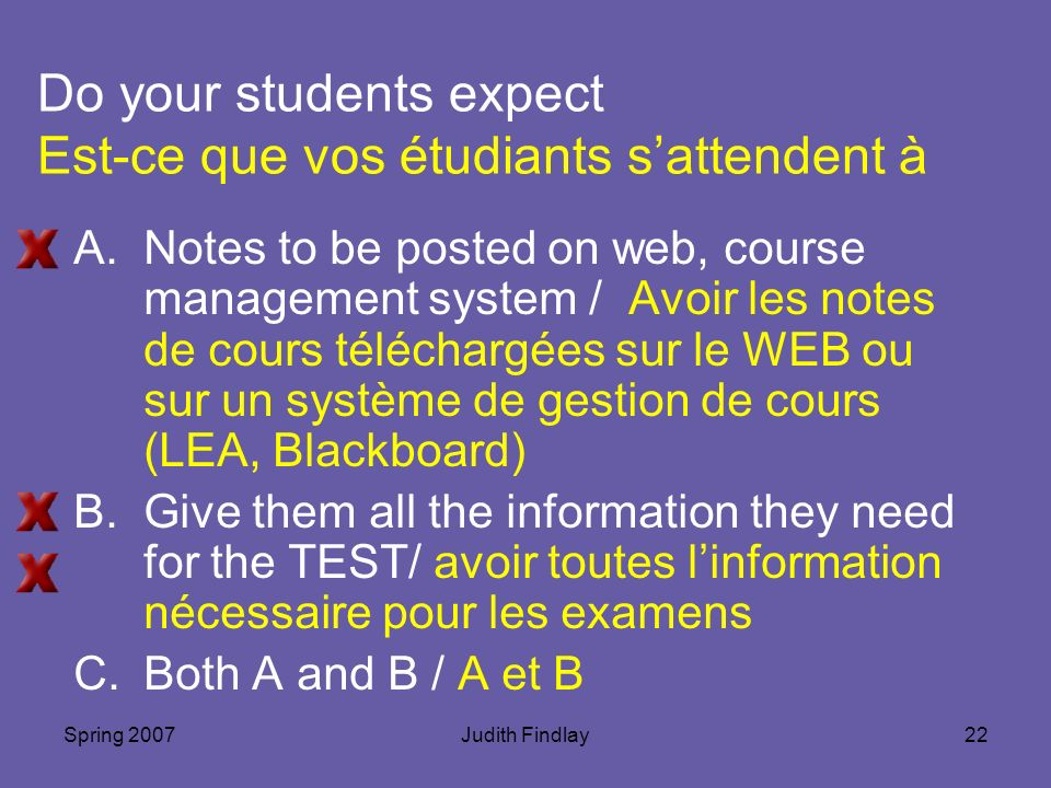 Spring 2007Judith Findlay22 Do your students expect Est-ce que vos étudiants sattendent à A.Notes to be posted on web, course management system / Avoir les notes de cours téléchargées sur le WEB ou sur un système de gestion de cours (LEA, Blackboard) B.Give them all the information they need for the TEST/ avoir toutes linformation nécessaire pour les examens C.Both A and B / A et B