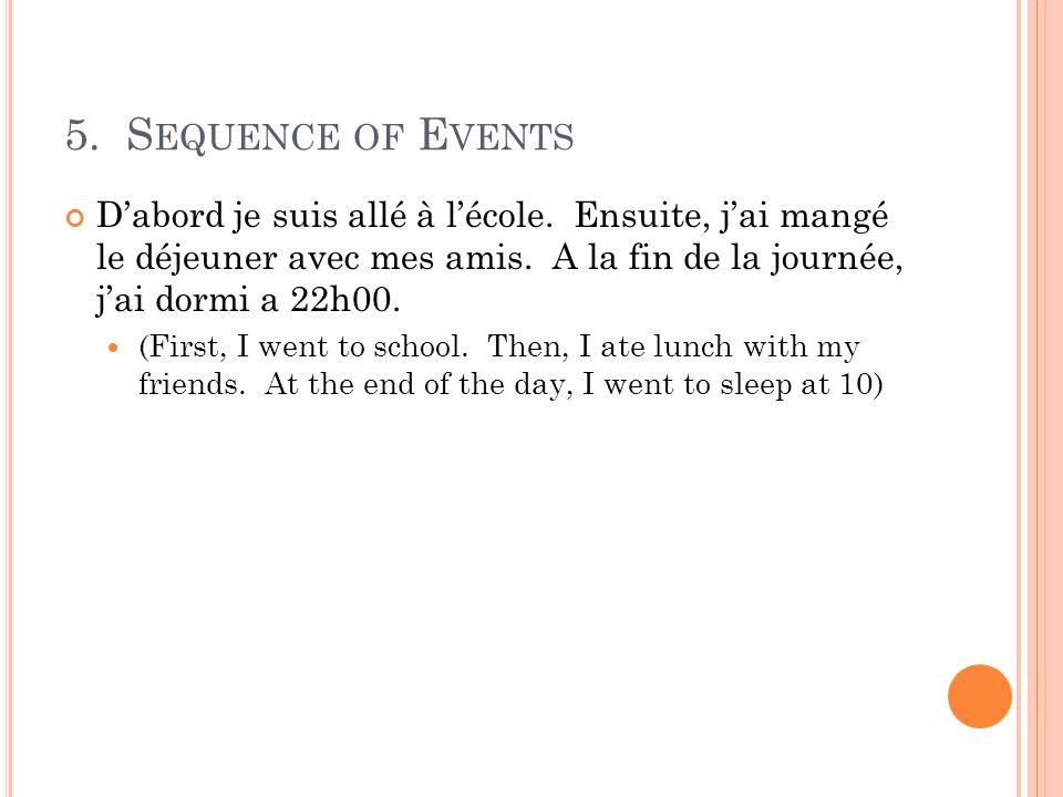 5. S EQUENCE OF E VENTS Dabord je suis allé à lécole. Ensuite, jai mangé le déjeuner avec mes amis. A la fin de la journée, jai dormi a 22h00. (First,