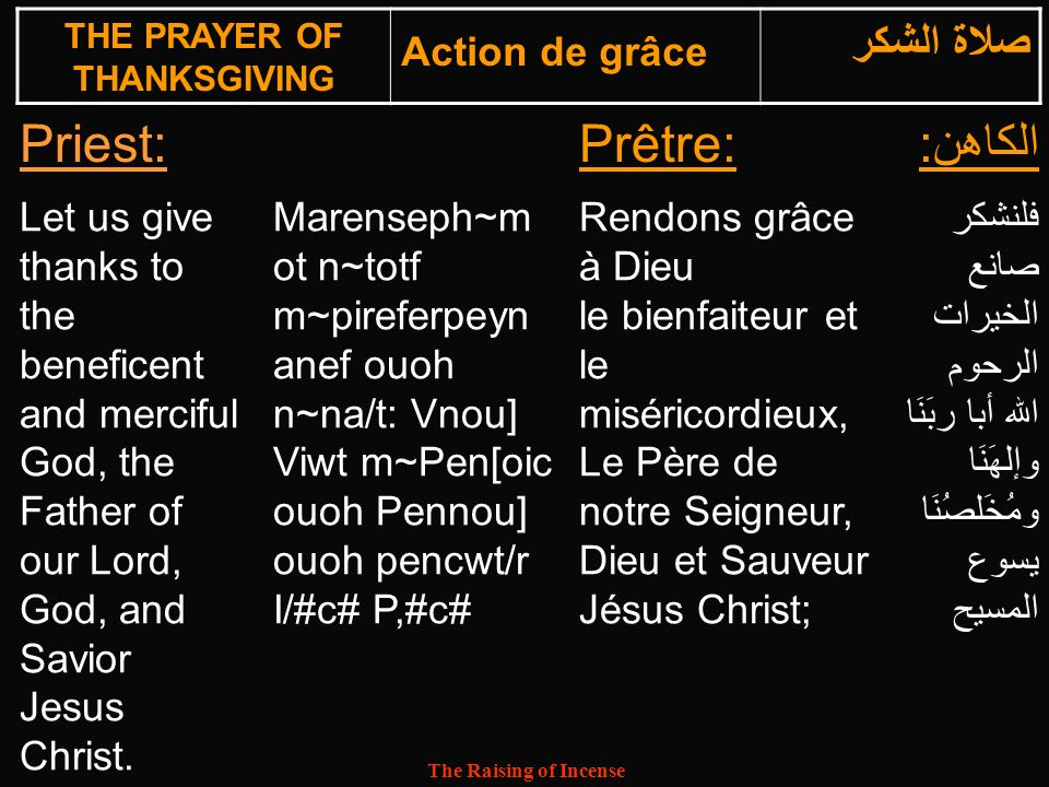 The Raising of Incense Priest:Prêtre:الكاهن: Let us give thanks to the beneficent and merciful God, the Father of our Lord, God, and Savior Jesus Chri