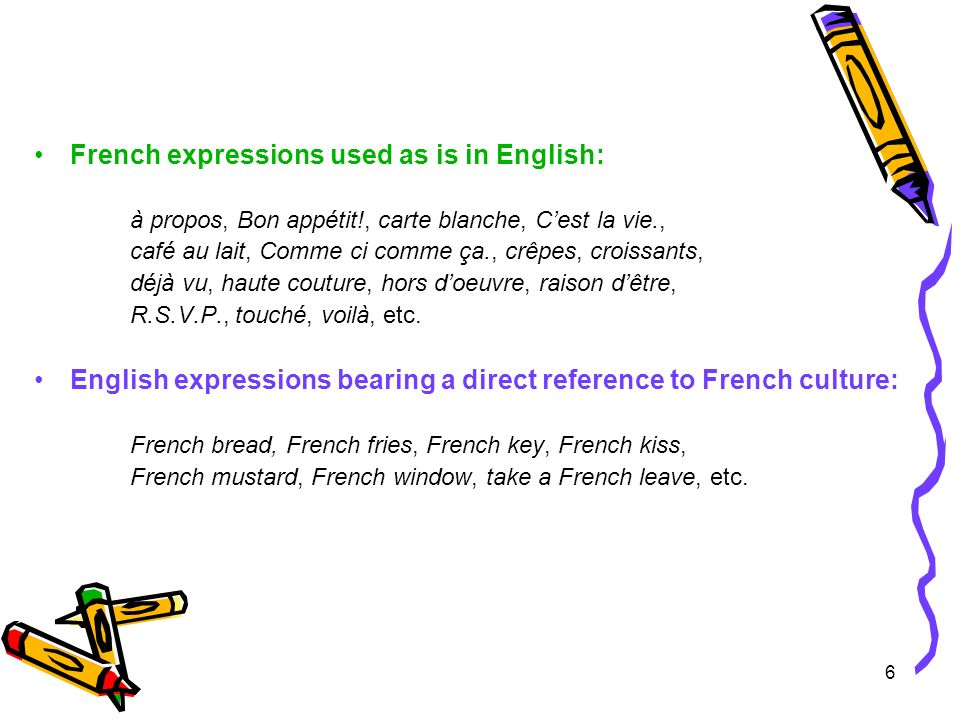 6 French expressions used as is in English: à propos, Bon appétit!, carte blanche, Cest la vie., café au lait, Comme ci comme ça., crêpes, croissants, déjà vu, haute couture, hors doeuvre, raison dêtre, R.S.V.P., touché, voilà, etc.