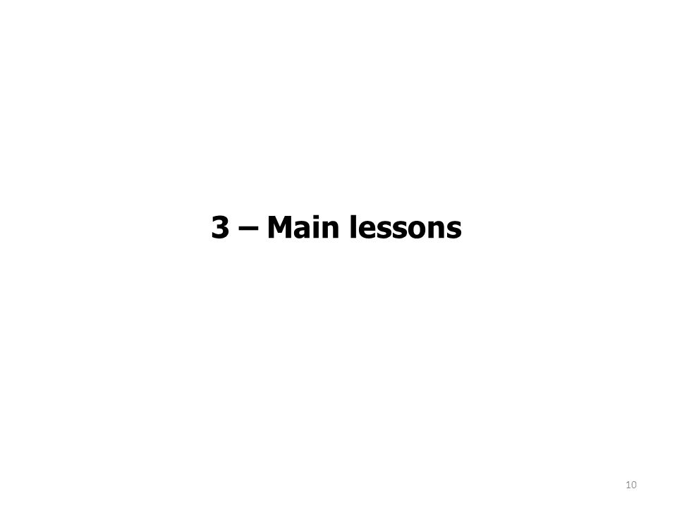 3 – Main lessons 10