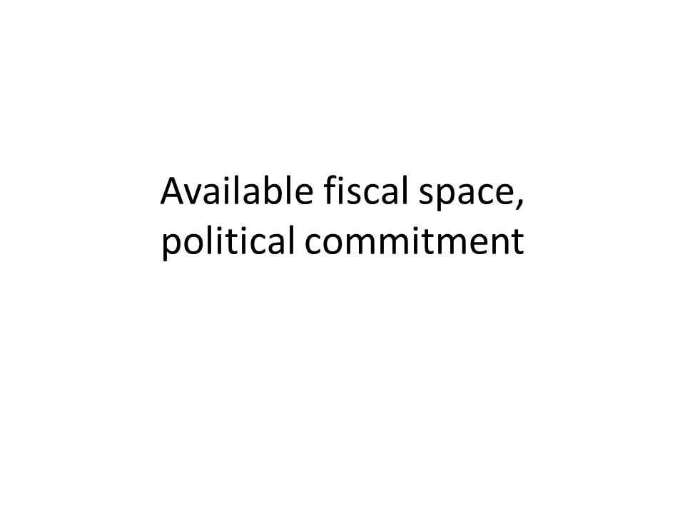 Available fiscal space, political commitment