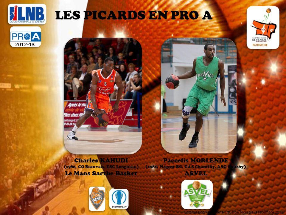 LES PICARDS EN PRO A 2012-13 Henri KAHUDI (1991, Beauvais OUC, CS Pontpoint) Le Mans Sarthe Basket Rudy GOBERT (1992, ASG Gauchy, JSC St Quentin, SQBB) Cholet Basket Karim SOUCHU (1979, Nogent BBC) Cholet Basket Commission Patrimoine Ligue de Picardie, septembre 2012