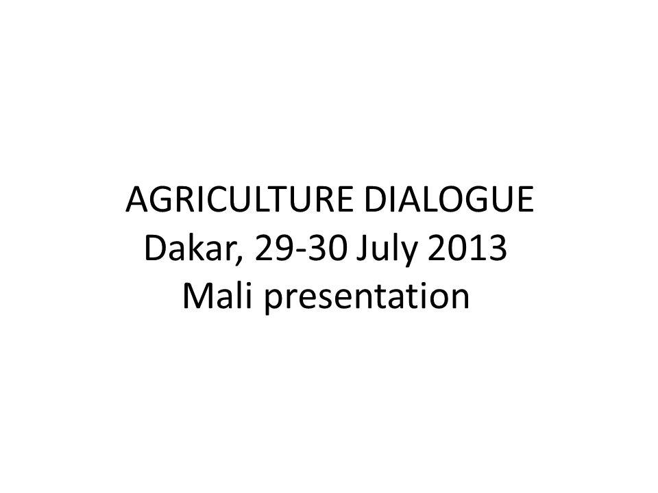 AGRICULTURE DIALOGUE Dakar, 29-30 July 2013 Mali presentation