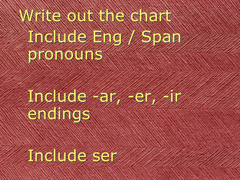 Write out the chart Include Eng / Span pronouns Include -ar, -er, -ir endings Include ser Write out the chart Include Eng / Span pronouns Include -ar,