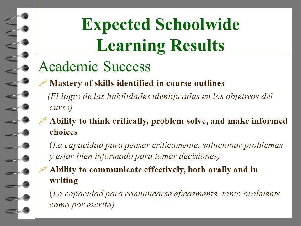 Expected Schoolwide Learning Results Academic Success !Mastery of skills identified in course outlines (El logro de las habilidades identificadas en l