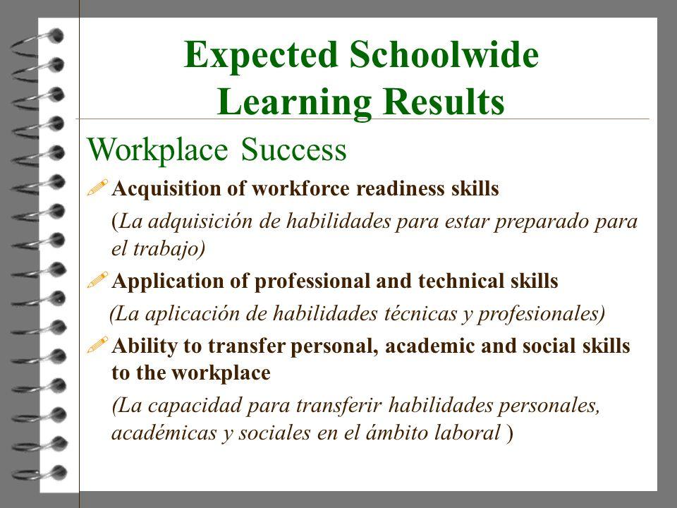 Expected Schoolwide Learning Results Workplace Success !Acquisition of workforce readiness skills (La adquisición de habilidades para estar preparado