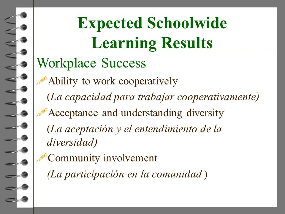 Expected Schoolwide Learning Results Workplace Success !Ability to work cooperatively (La capacidad para trabajar cooperativamente) !Acceptance and un