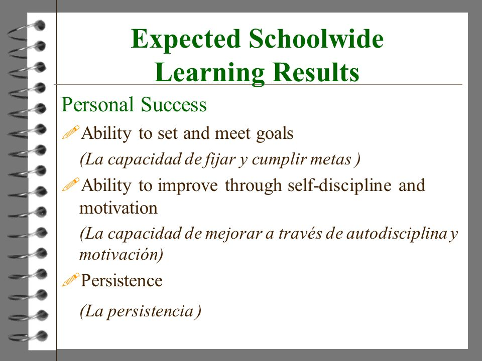 Expected Schoolwide Learning Results Personal Success !Ability to set and meet goals (La capacidad de fijar y cumplir metas ) !Ability to improve thro