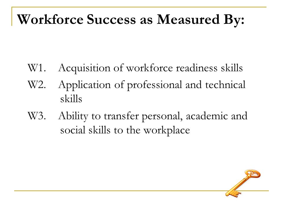 Workforce Success as Measured By: W1. Acquisition of workforce readiness skills W2.