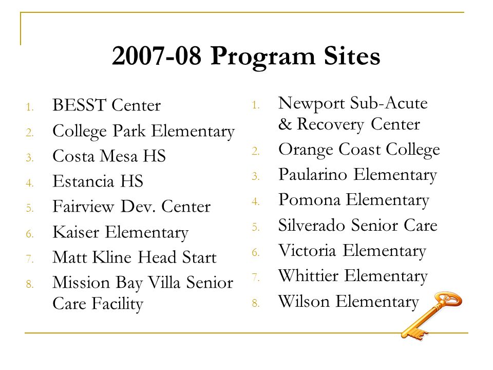 2007-08 Program Sites 1. BESST Center 2. College Park Elementary 3.