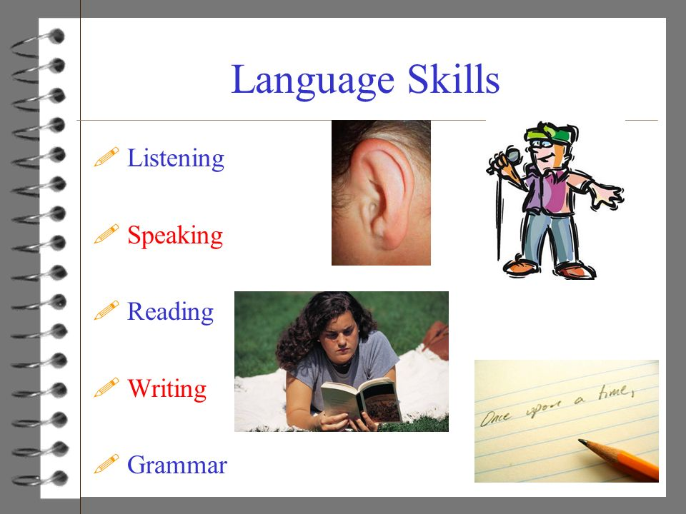 Language Skills ! Listening ! Speaking ! Reading ! Writing ! Grammar