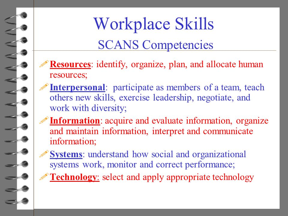 Workplace Skills SCANS Competencies !Resources: identify, organize, plan, and allocate human resources; !Interpersonal: participate as members of a te