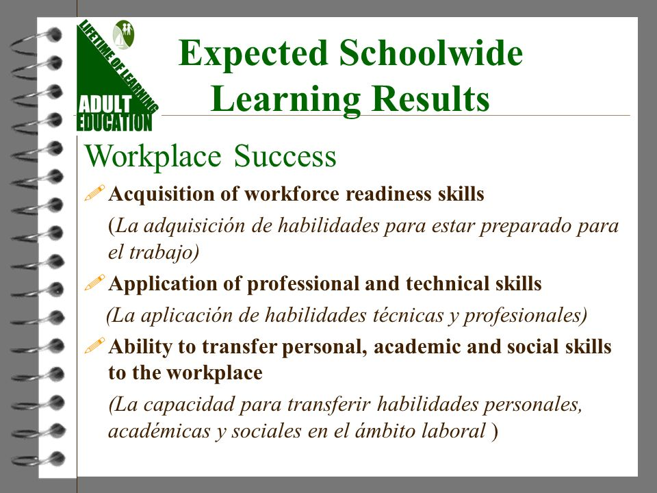 Expected Schoolwide Learning Results Workplace Success !Acquisition of workforce readiness skills (La adquisición de habilidades para estar preparado