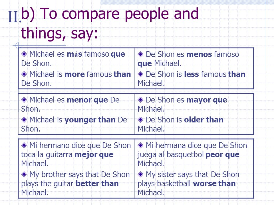 b) To compare people and things, say: Michael es m á s famoso que De Shon.