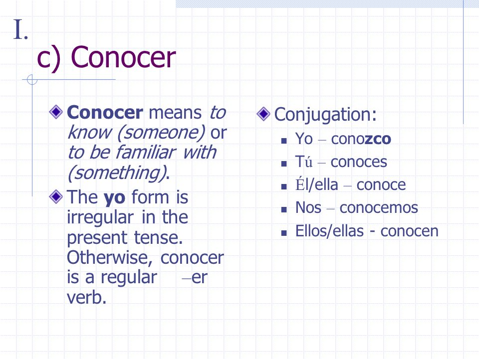 c) Conocer Conocer means to know (someone) or to be familiar with (something).