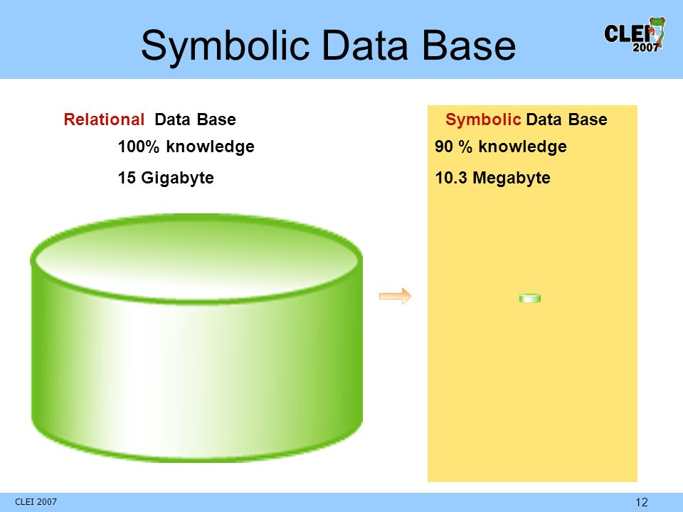 CLEI 2007 12 Relational Data BaseSymbolic Data Base 100% knowledge 15 Gigabyte 90 % knowledge 10.3 Megabyte Symbolic Data Base