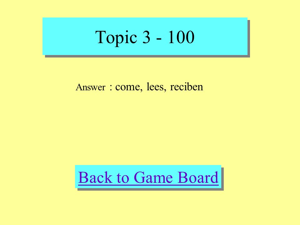 Topic 3 - 100 Check Your Answer Question : Fill in the blank Usted ______ (comer) la cena por la tarde. Tu ______ (leer) muchos libros en el colegio.