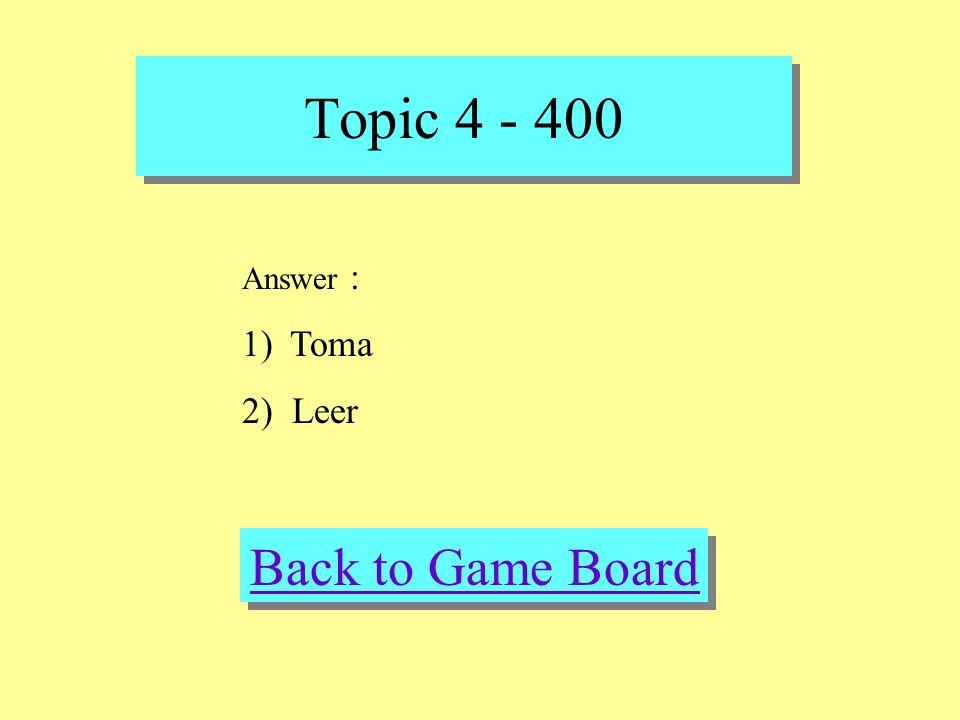 Topic 4 - 400 Check Your Answer Question : Fill in the blank 1) Ana _____ el autobus al centro comercial (ayuda, recibe, toma) 2) A Francisco le gusta ____ las tiras comicas (acampar, leer, pescar)