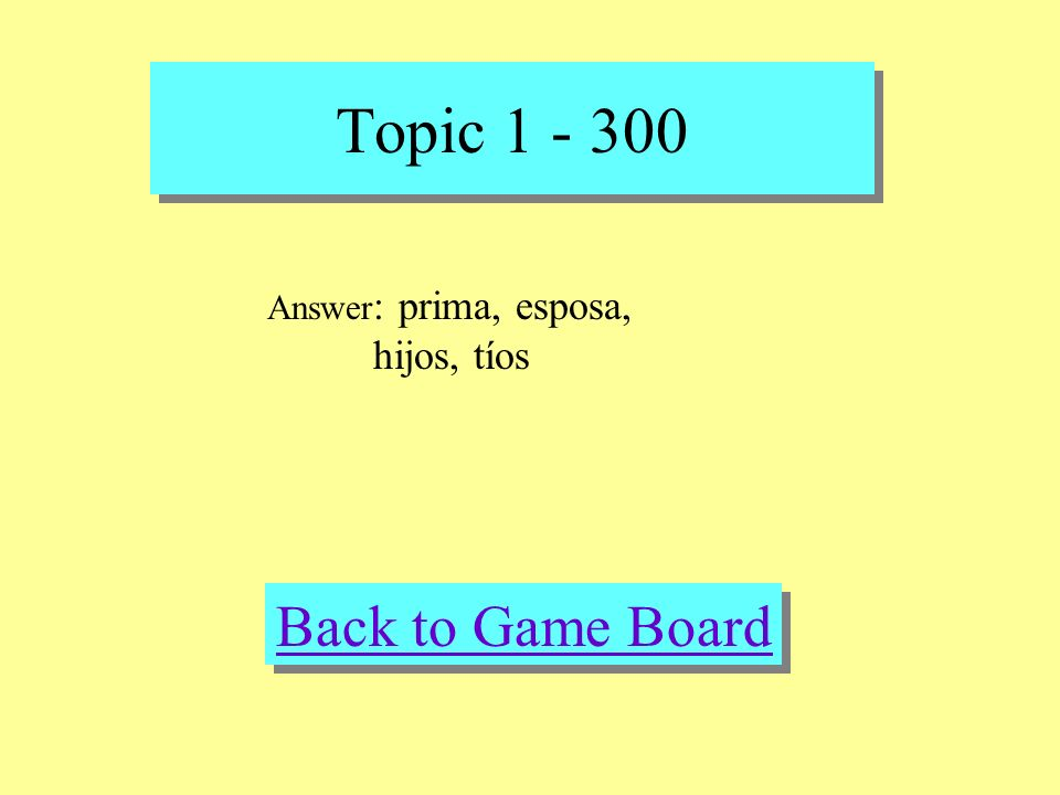 Topic 1 - 300 Check Your Answer Question: female cousin, wife, kids, aunt and uncles