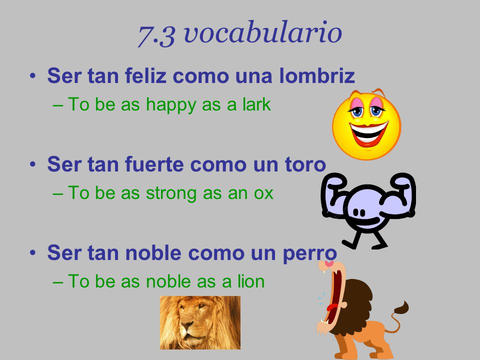 7.3 vocabulario Ser tan feliz como una lombriz –To be as happy as a lark Ser tan fuerte como un toro –To be as strong as an ox Ser tan noble como un p