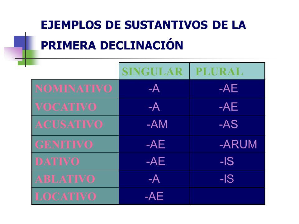 EJEMPLOS DE SUSTANTIVOS DE LA PRIMERA DECLINACIÓN SINGULAR PLURAL NOMINATIVO -A -AE VOCATIVO -A -AE ACUSATIVO -AM -AS GENITIVO -AE -ARUM DATIVO -AE-IS