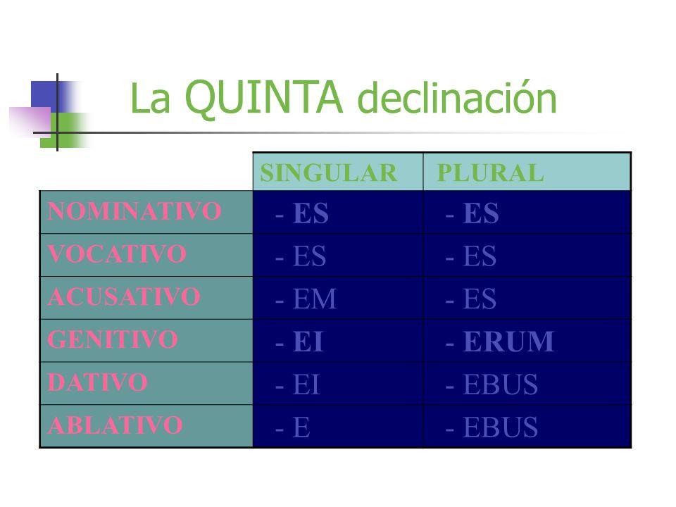 La QUINTA declinación SINGULAR PLURAL NOMINATIVO - ES VOCATIVO - ES ACUSATIVO - EM - ES GENITIVO - EI - ERUM DATIVO - EI - EBUS ABLATIVO - E - EBUS