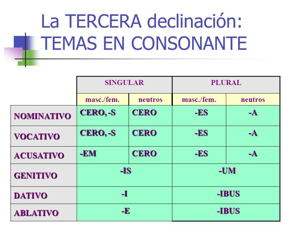 La TERCERA declinación: TEMAS EN CONSONANTE SINGULARPLURAL masc./fem.neutrosmasc./fem.neutros NOMINATIVO CERO, -S CERO -ES -ES-A VOCATIVO CERO, -S CER