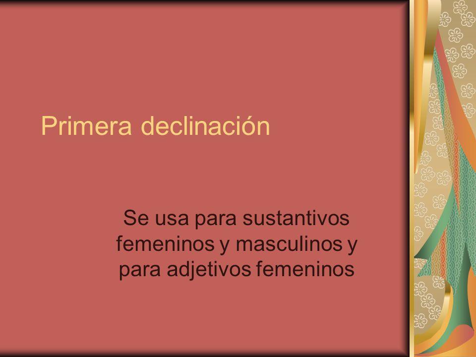 Primera declinación Se usa para sustantivos femeninos y masculinos y para adjetivos femeninos
