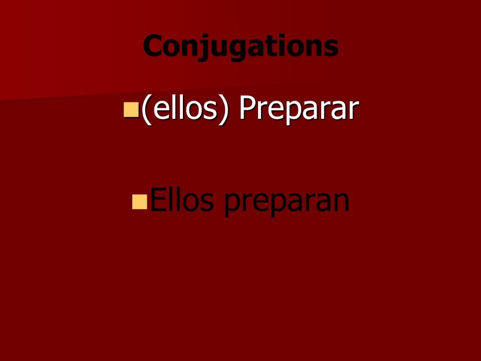 Conjugations (ellos) Preparar (ellos) Preparar Ellos preparan