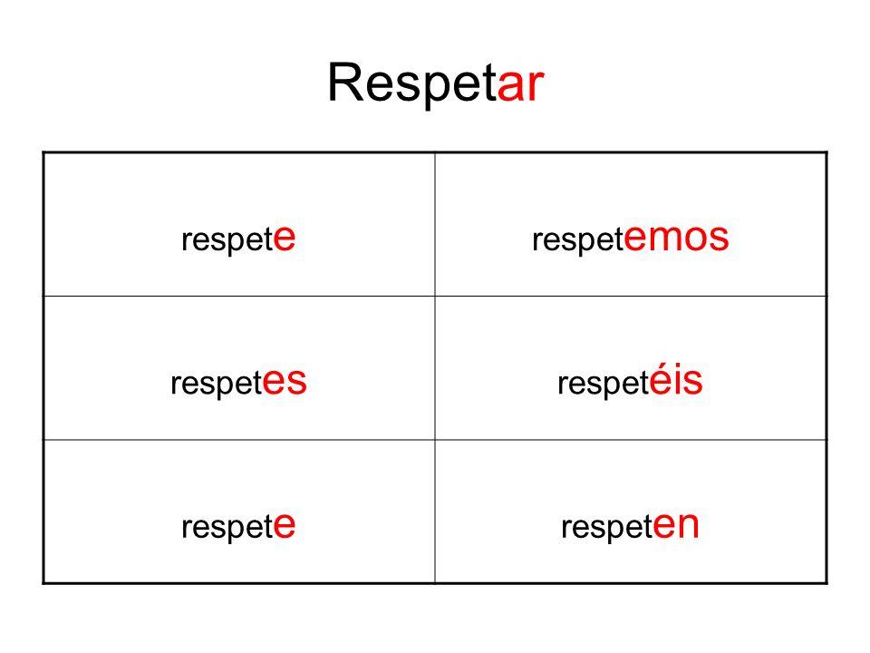 Respetar respet e respet emos respet es respet éis respet e respet en