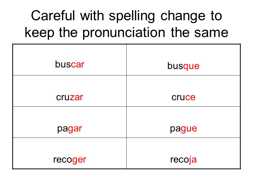 Careful with spelling change to keep the pronunciation the same buscar busque cruzarcruce pagarpague recogerrecoja