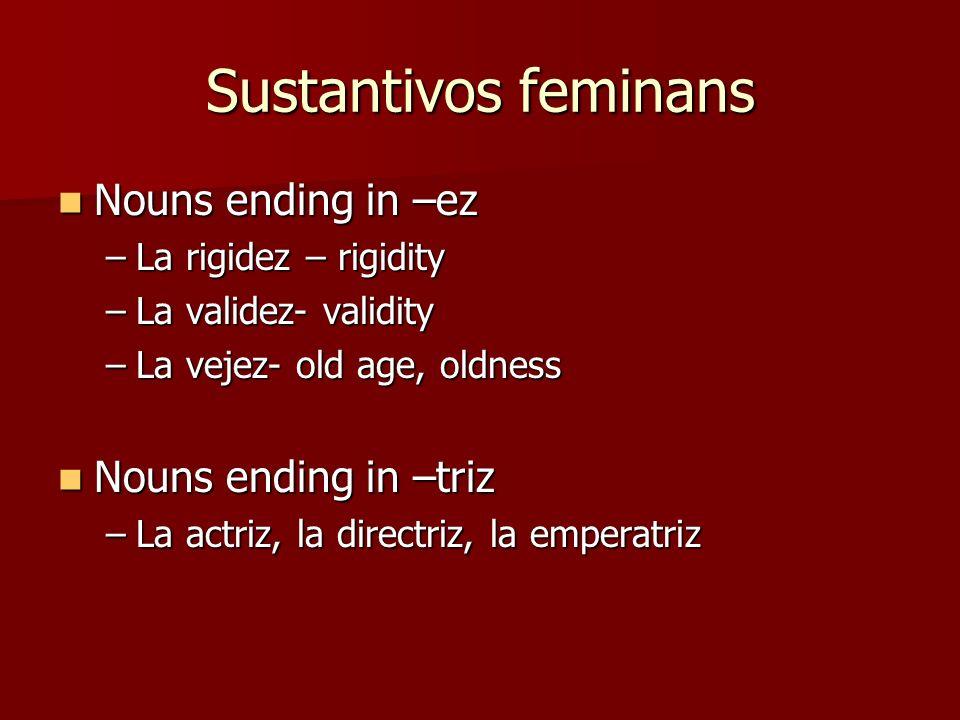 Sustantivos feminans Nouns ending in –ez Nouns ending in –ez –La rigidez – rigidity –La validez- validity –La vejez- old age, oldness Nouns ending in