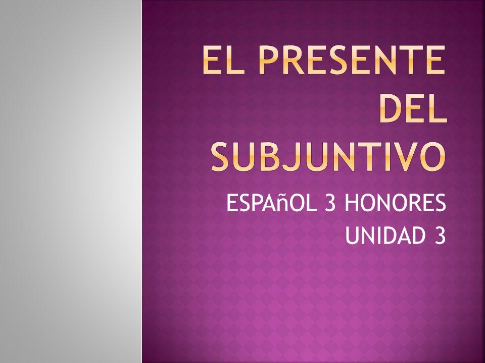 ESPAñOL 3 HONORES UNIDAD 3