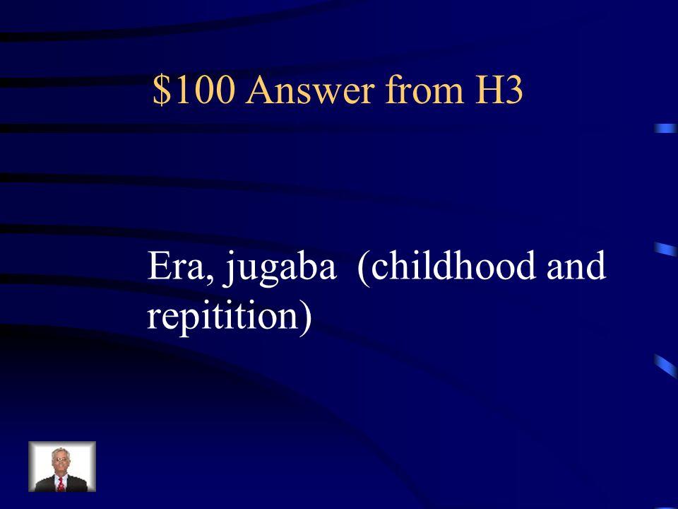 $100 Question from H3 Cuando mi hermano (ser) ____ joven siempre (jugar)______ al boliche.
