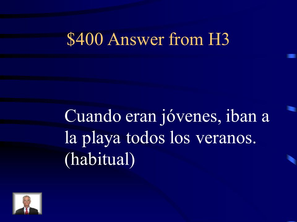 $400 Question from H3 Translate: When they were young, they used to go to the beach every summer.