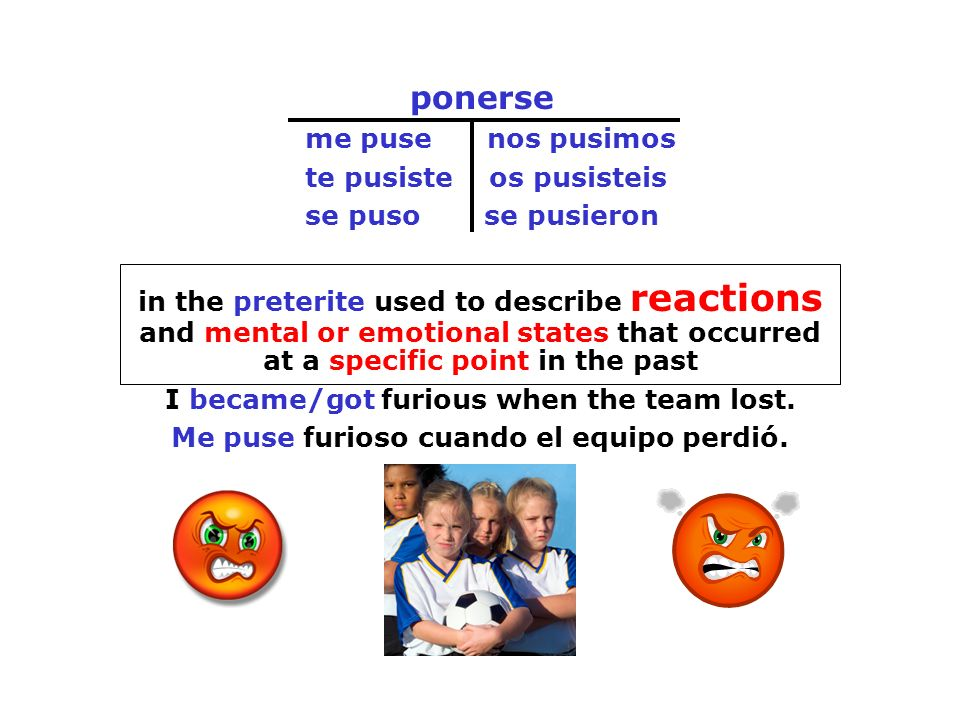 ponerse me puse nos pusimos te pusiste os pusisteis se puso se pusieron in the preterite used to describe reactions and mental or emotional states tha