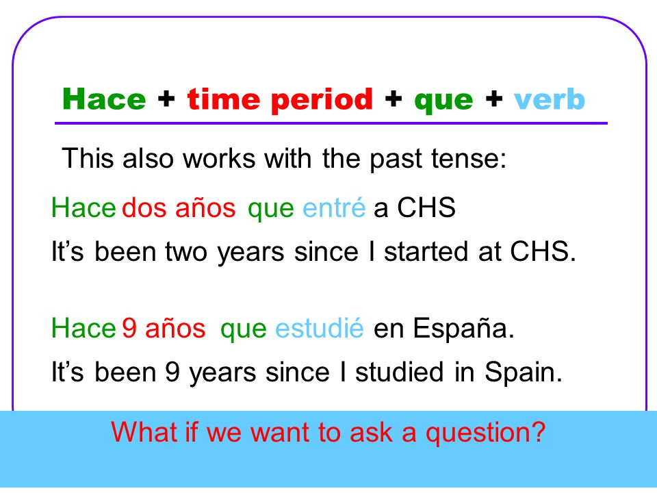 Hace + time period + que + verb This also works with the past tense: Hacedos añosqueentréa CHS Its been two years since I started at CHS. Hace9 añosqu
