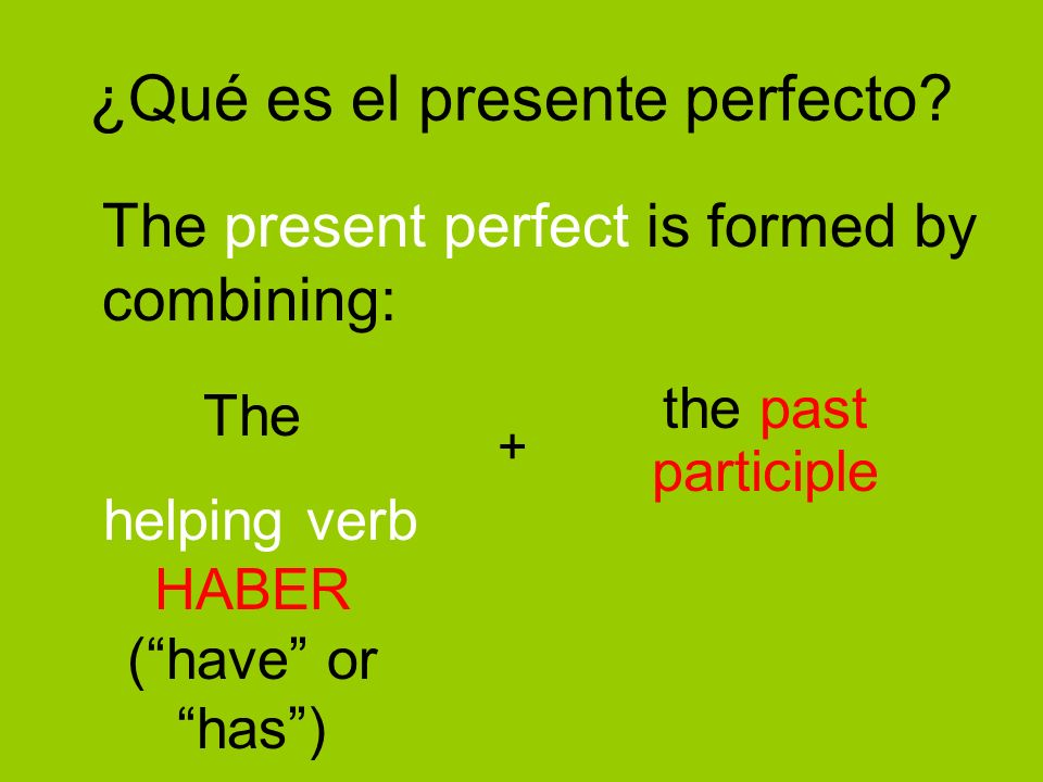 Now you try… he ________hemos _______ has ________habéis ________ ha ________han ________ On your notes, see if you can figure out the present perfect forms for the verb hablar: