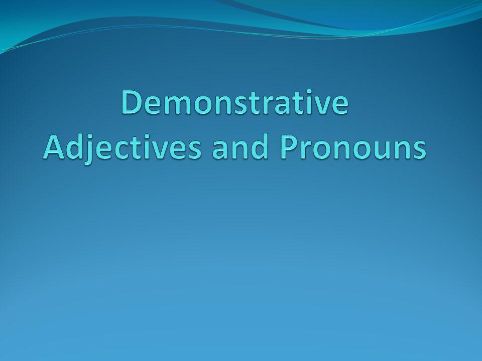 Demonstrative Adjectives Adjectives describe a noun