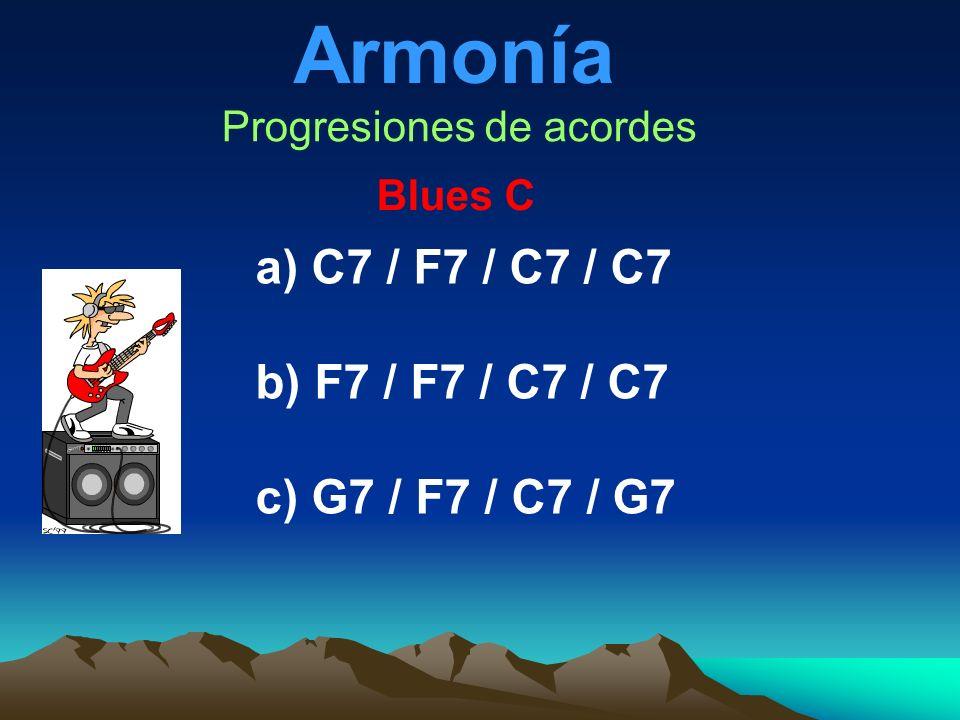 Armonía Progresiones de acordes Blues C a) C7 / F7 / C7 / C7 b) F7 / F7 / C7 / C7 c) G7 / F7 / C7 / G7