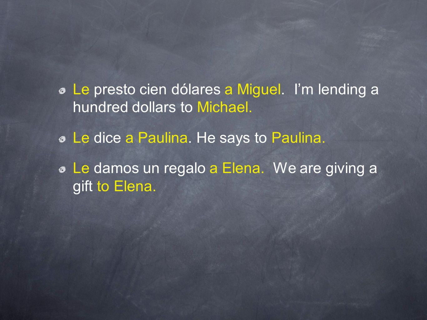 Le presto cien dólares a Miguel. Im lending a hundred dollars to Michael. Le dice a Paulina. He says to Paulina. Le damos un regalo a Elena. We are gi