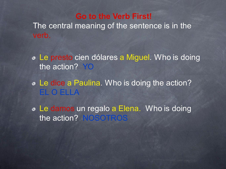 Le presto cien dólares a Miguel. Who is doing the action? YO Le dice a Paulina. Who is doing the action? EL O ELLA Le damos un regalo a Elena. Who is