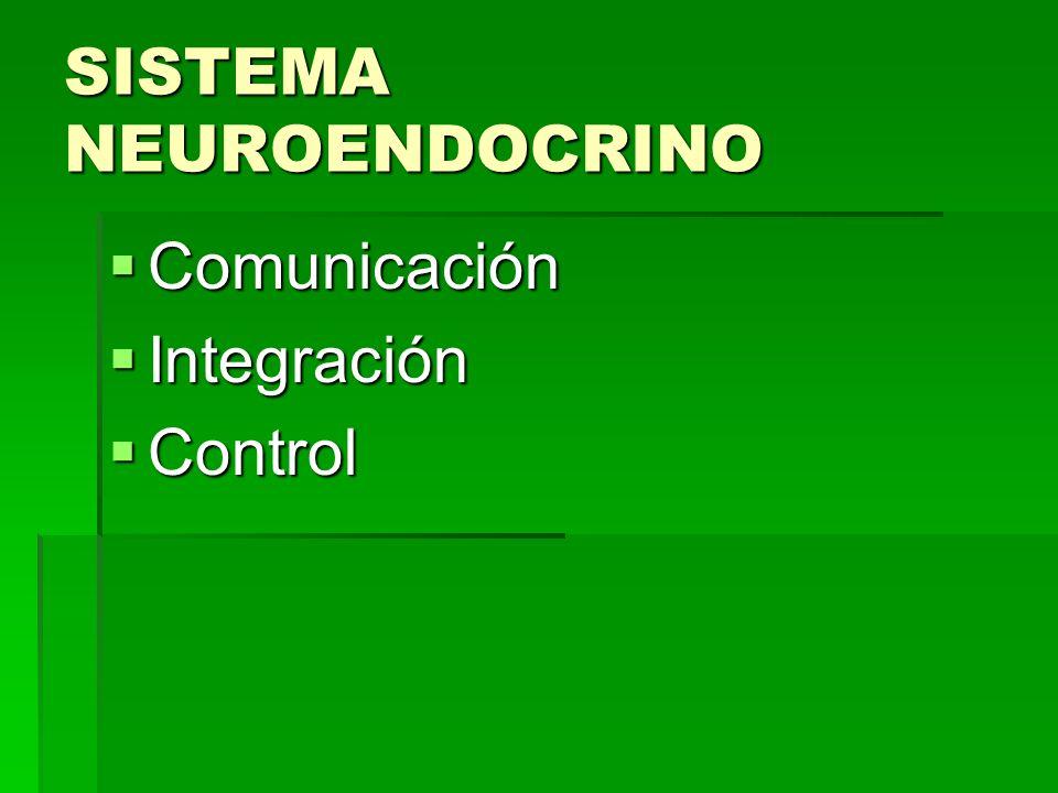 SISTEMA NEUROENDOCRINO Comunicación Comunicación Integración Integración Control Control