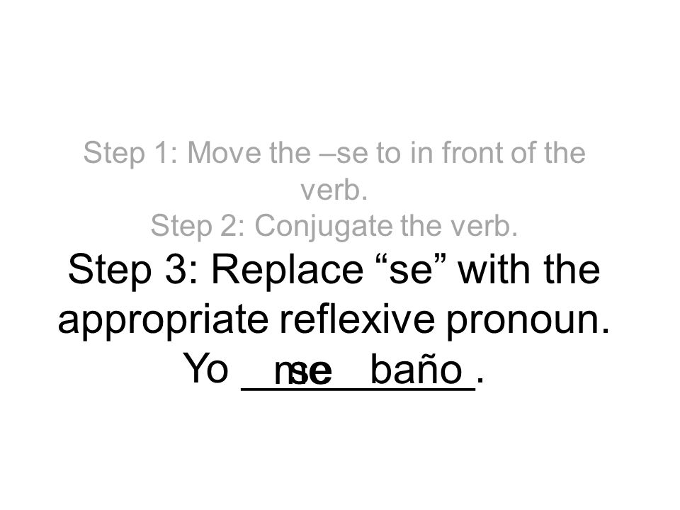 Step 1: Move the –se to in front of the verb. Step 2: Conjugate the verb. Step 3: Replace se with the appropriate reflexive pronoun. Yo __________. se
