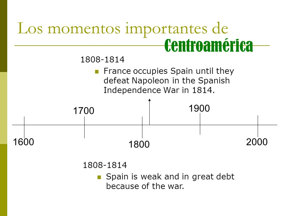 1808-1814 France occupies Spain until they defeat Napoleon in the Spanish Independence War in 1814. Los momentos importantes de Centroamérica 1808-181