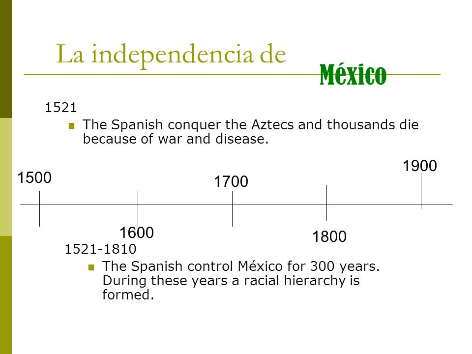 1500 1600 1700 1800 1900 La independencia de México 1521 The Spanish conquer the Aztecs and thousands die because of war and disease. 1521-1810 The Sp