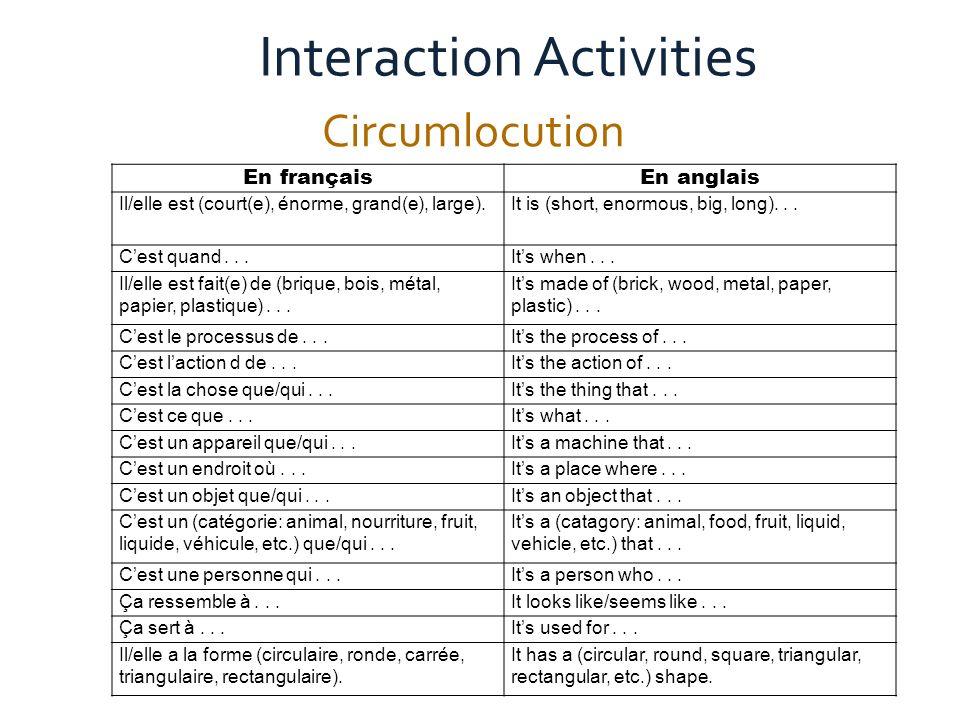 Active Communication in the Global Classroom Circumlocution Interaction Activities En françaisEn anglais Il/elle est (court(e), énorme, grand(e), large).It is (short, enormous, big, long)...